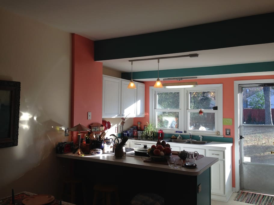 This is our small, bright, functional kitchen. Like to cook?