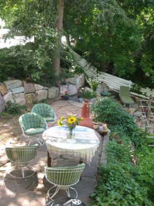 Terraced patios, elaborate rock work and gardens are the star of the show.