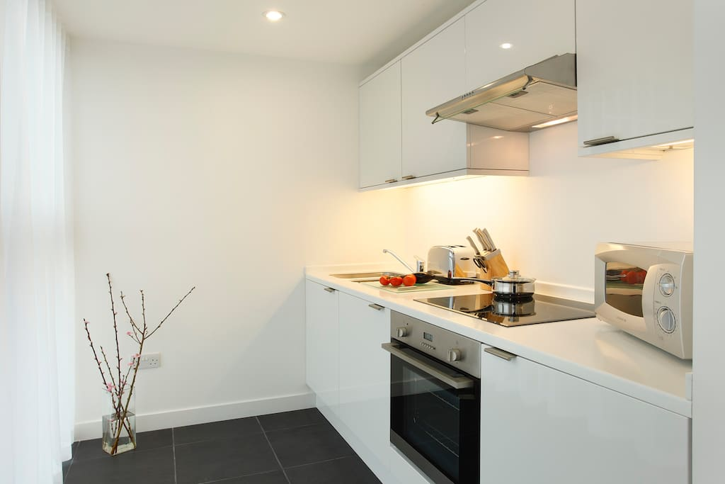 Full kitchen with all amenities, homewares and cleaning products