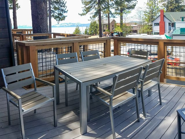 Enjoy dinner with a view on the private deck with a 6-person table.