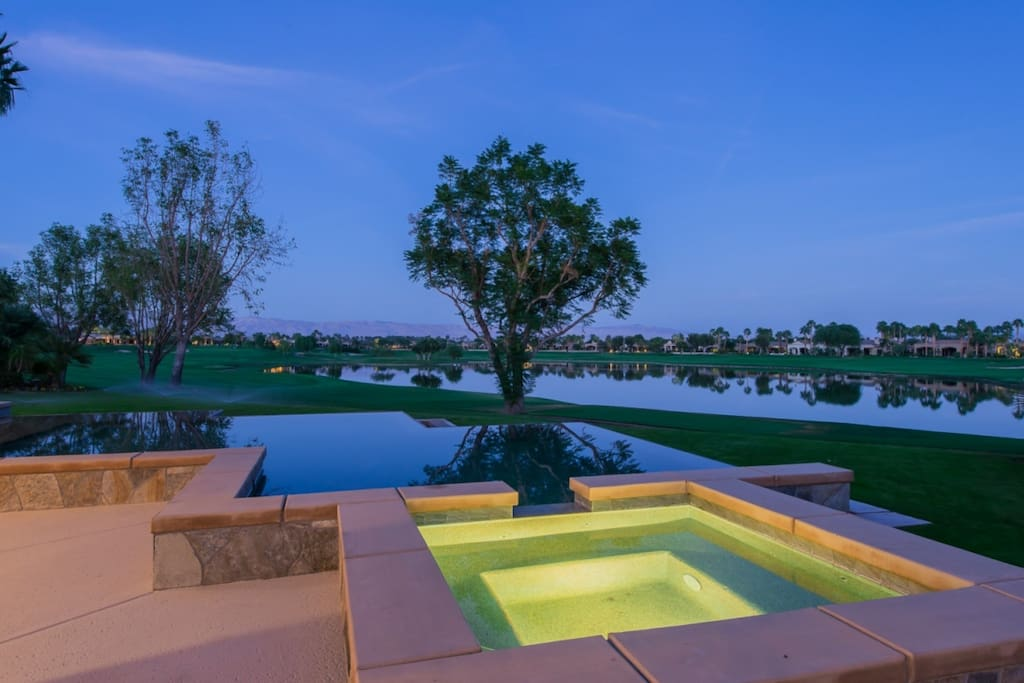 Spa, Pool, Lake and Golf Course at Night
