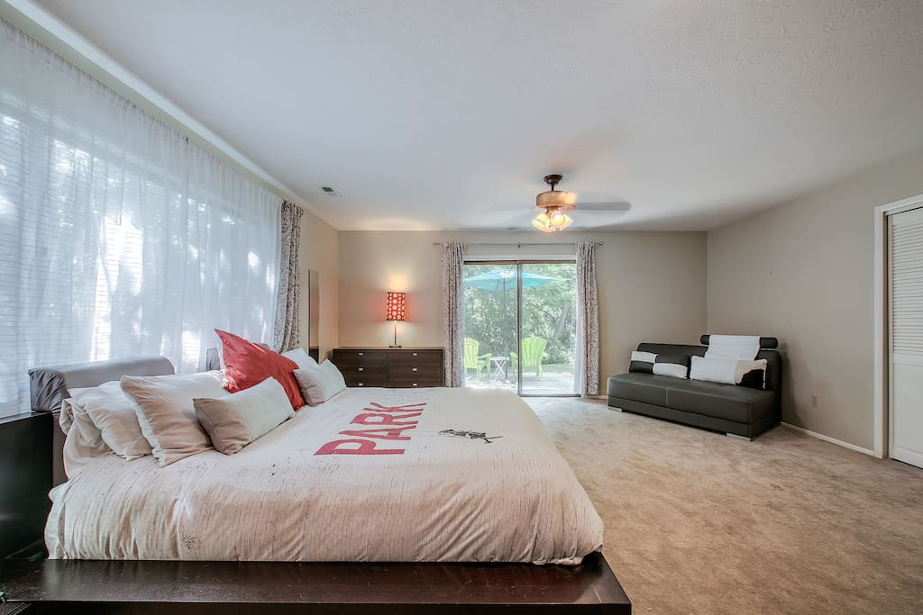 The very comfortable king size bed in this master suite will ensure a wonderful nights rest. Wonderful little attached deck is just outside the sliding glass door (secured by a lock and bar lock).