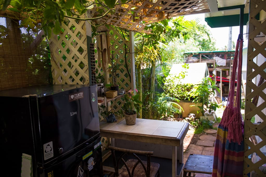 Fridge and outdoor table