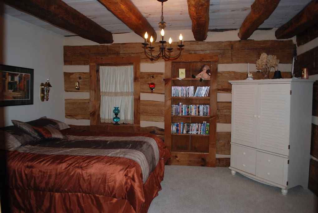 Your rustic but with modern amenities like TV in your bedroom.