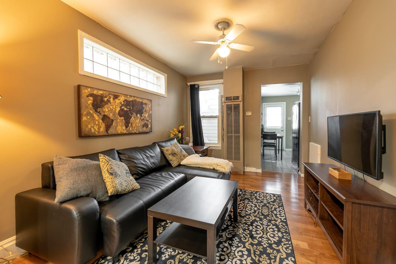 Living Room - new hardwood floors, modern furniture