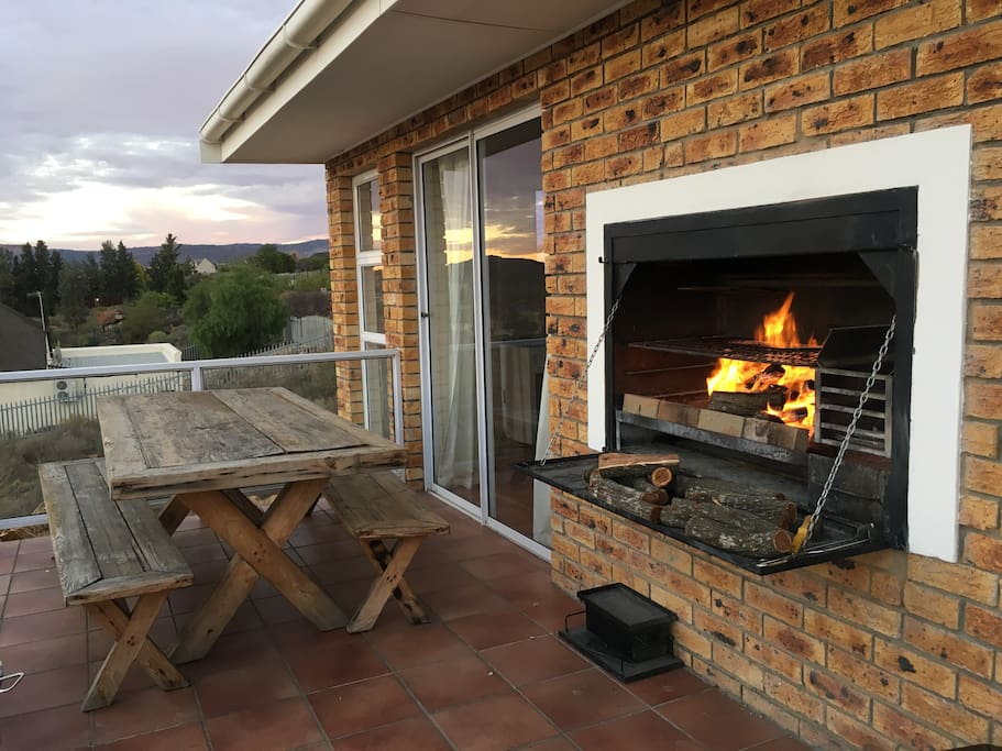 Built in braai and dining area on balcony