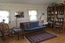 This is one end of the living room.  The futon opens into an additional bed, if needed.