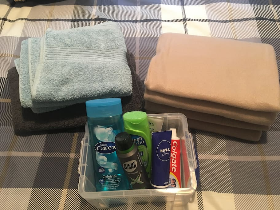 Toiletries basket, towels and extra blankets for you to use