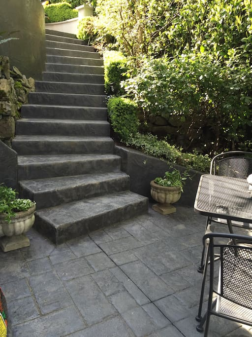 Stairway down to private patio