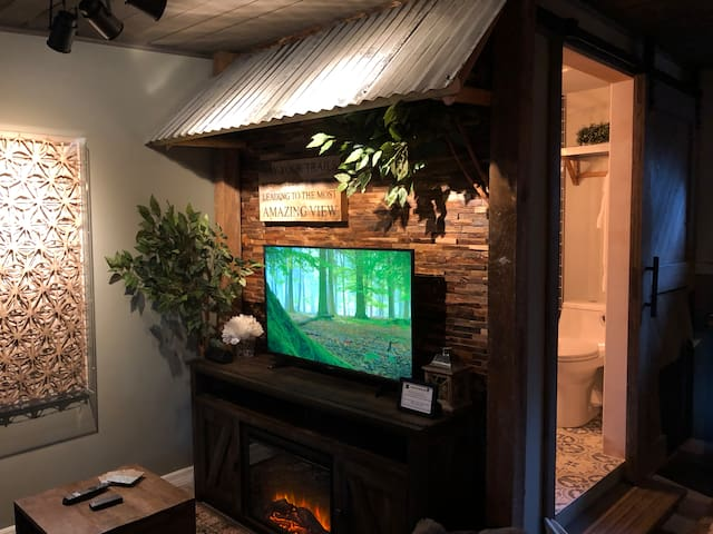 Enjoy your favorite shows and a glowing fire in your living area. (or the boring one that's on now about TREES.)