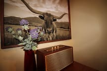 Vintage speaker and antiques throughout the home.