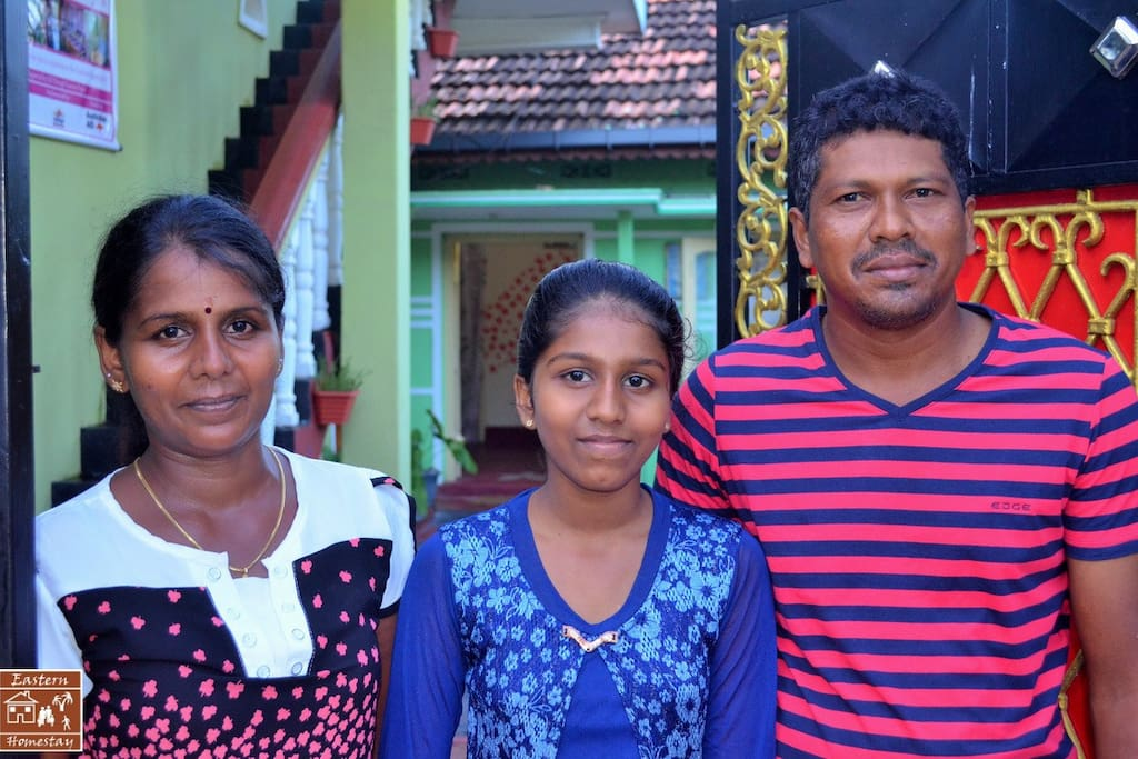 This is your host family... Jothy, the mother, Dilu, the daughter and Rusi, the father!