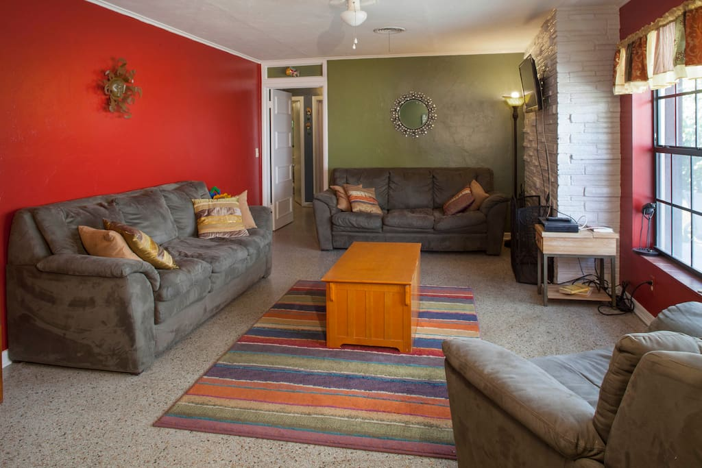 Sink down into the comfortable couches - this room seats 6-7.