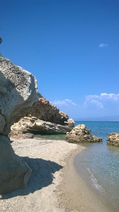 secluded beach at 0,5 km distance