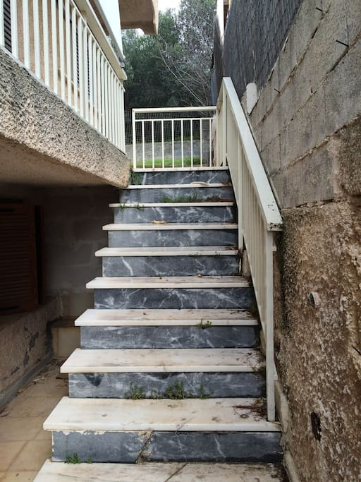 Stairs leading to the house