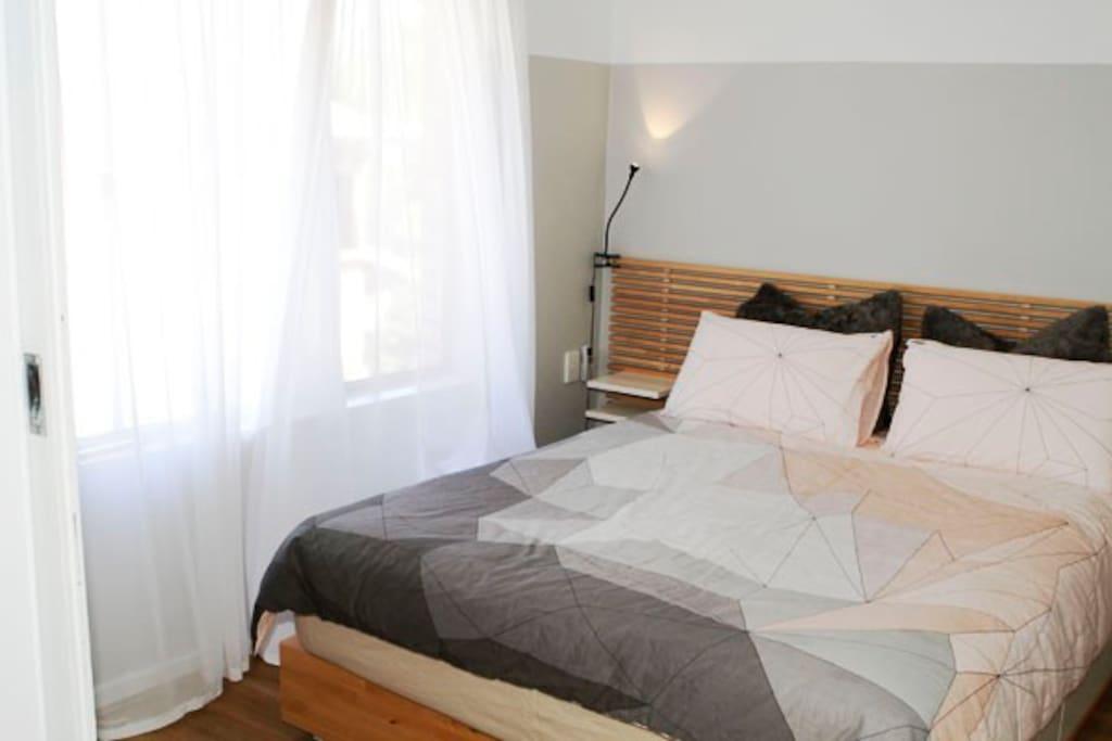 Pillow top Queen bed.