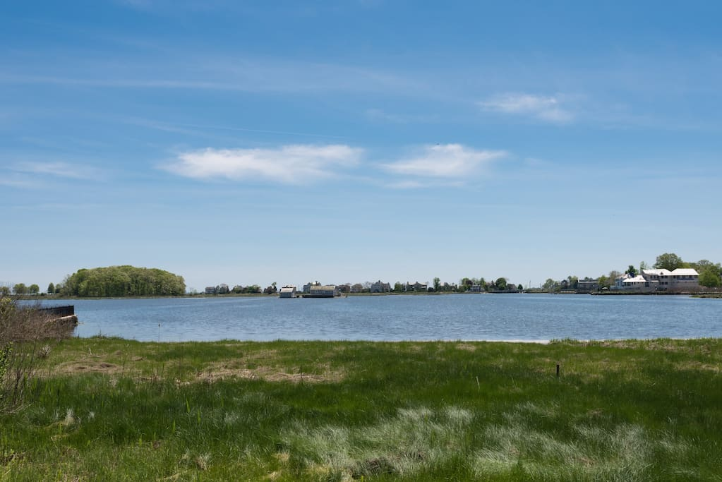 View from patio of Mill Pond, an 80 acre tidal estuary - great for viewing many species of birds and aquatic wildlife