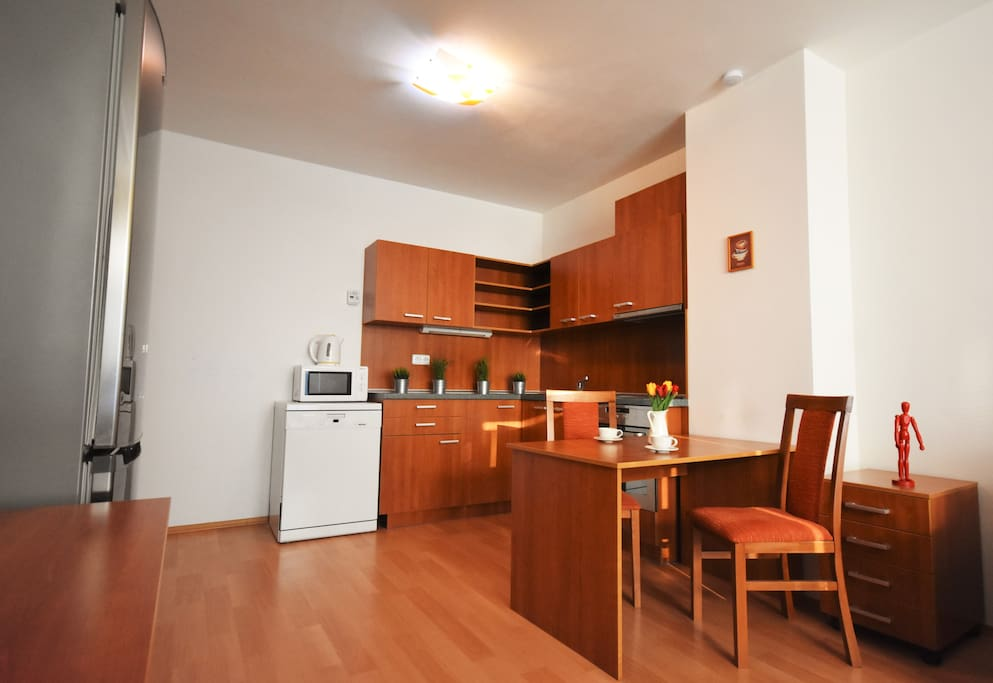 Large kitchen with electric stove, oven, microwave and dishwasher.