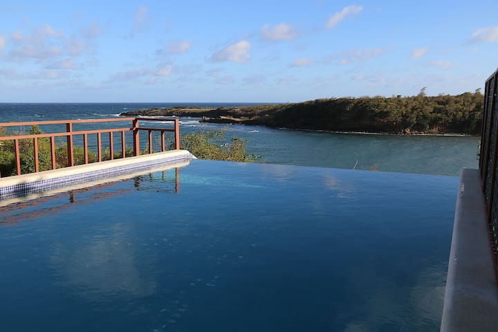 The infinity pool overlooking Crochu Bay and the ocean