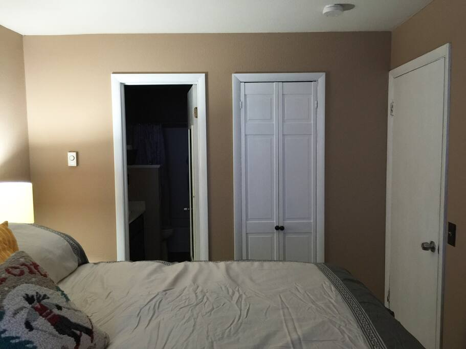 master bedroom view into bathroom and walk in closet
