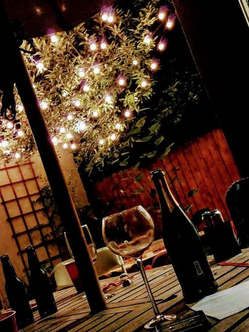 Enjoy a glass of wine at night in the backyard!