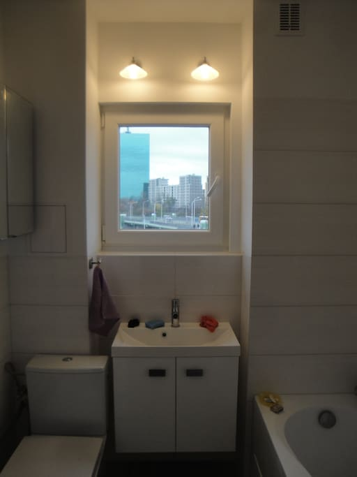 Small bathroom  with  big view