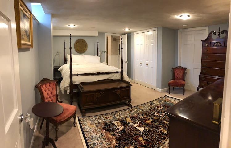 """""""The Hunt"""" Bedroom, solid Mahogany 4 poster bed, dresser, mirror and tallboy. Cedar lined blanket chest."""