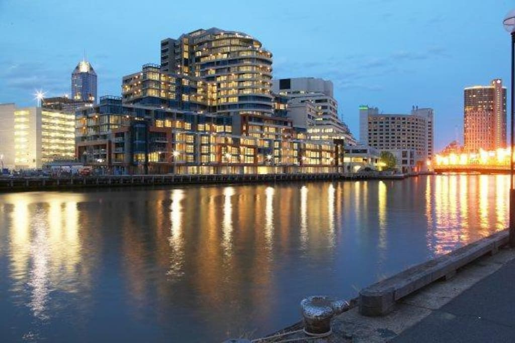 Flinders Wharf Complex at dusk with The Crown Casino to the right