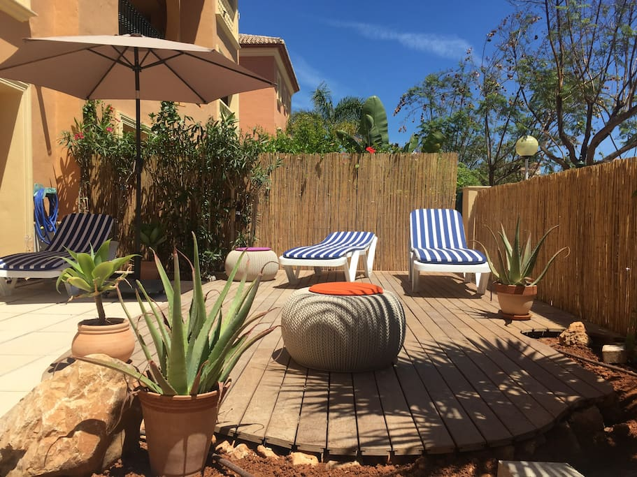 The apartment has a lovely area to relax and sunbathe in if the 2 minute walk to the pool is too much!