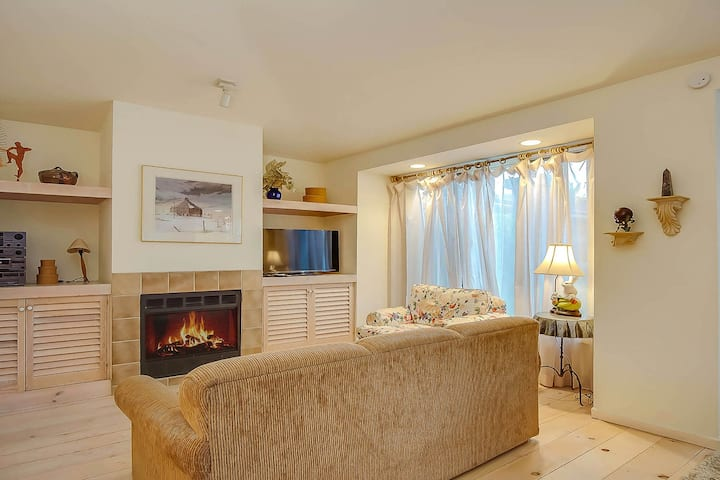 Downtown, dog-friendly condo w/ a full kitchen, gas fireplace, & balcony