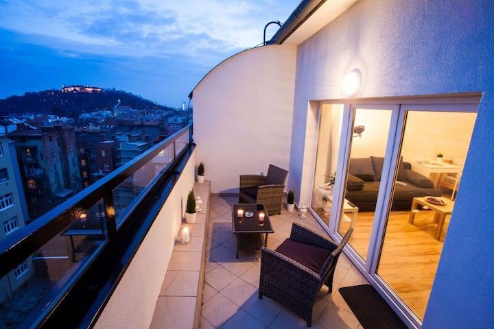 Apartmán s terasou,ložnicí a výhledem na hrad.