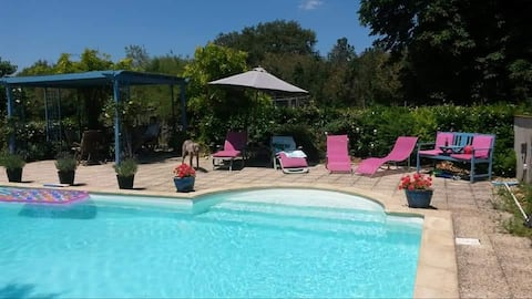 Farmhouse B&B with pool. Family suite sleeps 4