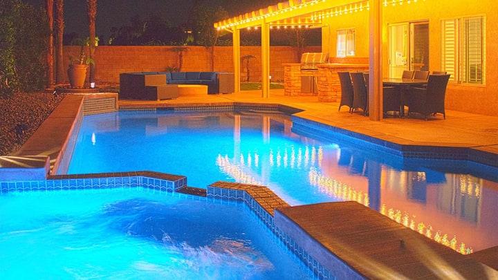 NEW! La Quinta Luxury Retreat - Saltwater Pool, Game Room, BBQ, Family Fun!