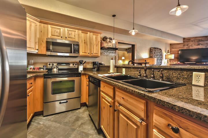 Fully Equipped Kitchen with Stainless Steel Appliances, Lovely Granite Counters