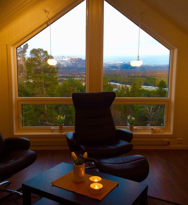 The beautiful and fabulous view of the mountains and nature from the living room.