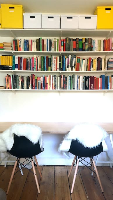Designer furniture meets DIY carpentry meets lots of books for you to borrow if you want!