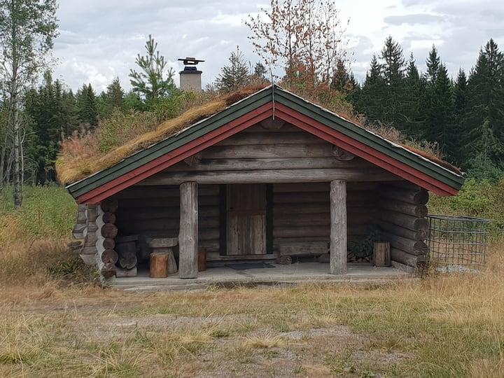 Laftet hytte laget av min bestefar. Uten strøm