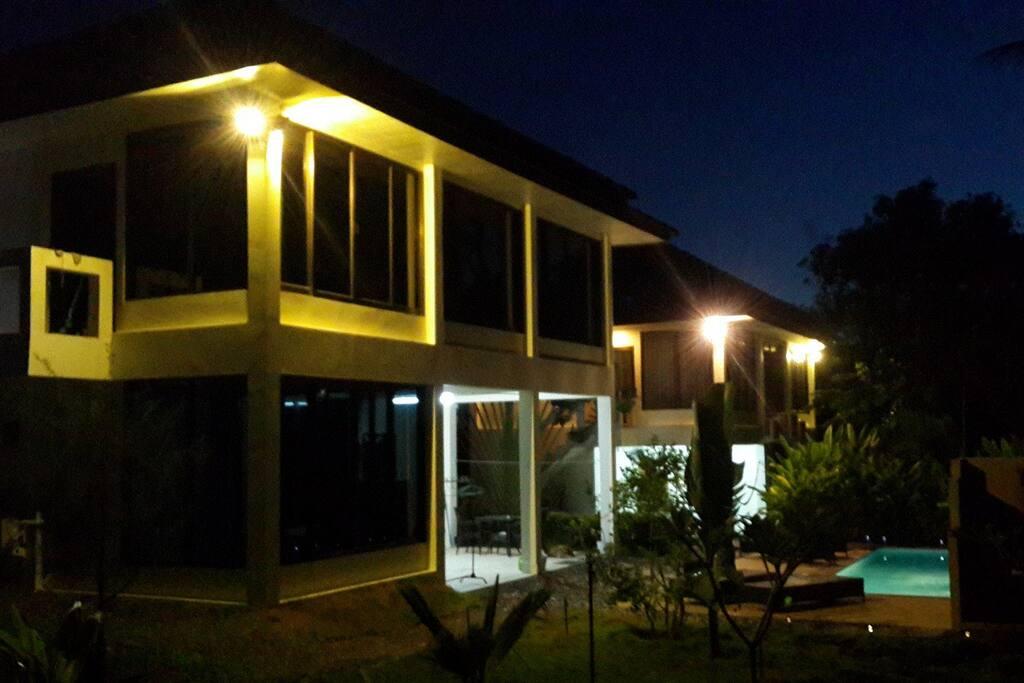 Twin Villas at night