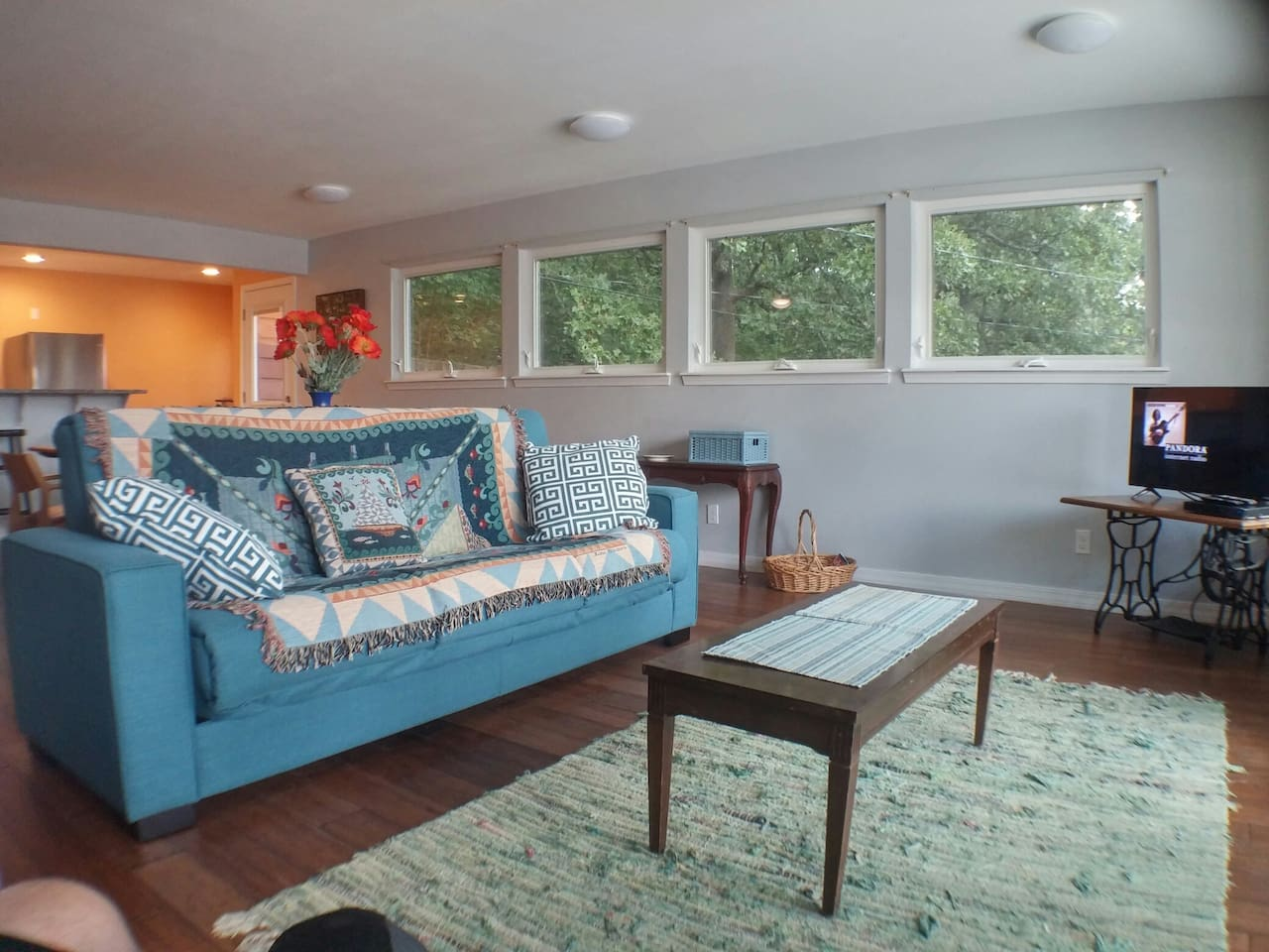 Relax on the comfortable sleeper sofa while watching TV, Netflix or enjoying the VIEW!!