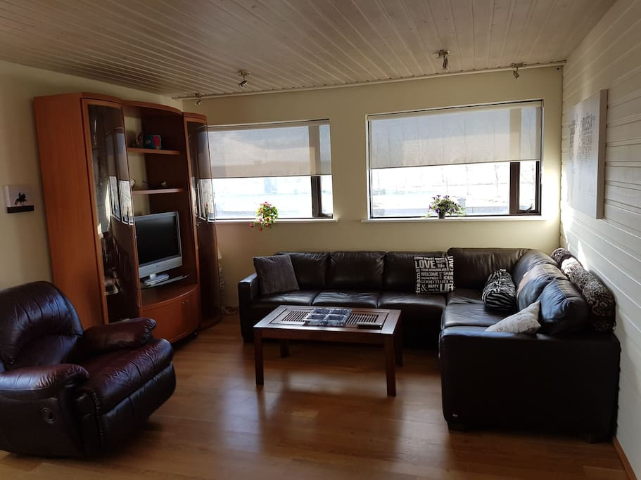 Nice livingroom with a TV and a comfortable sofa which can be changed into a bed