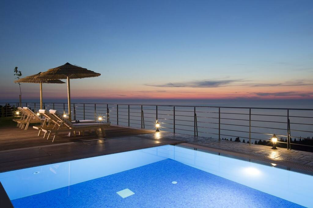 Enjoy stunning sunsets by the private pool of Luxurious Villa Afroditi