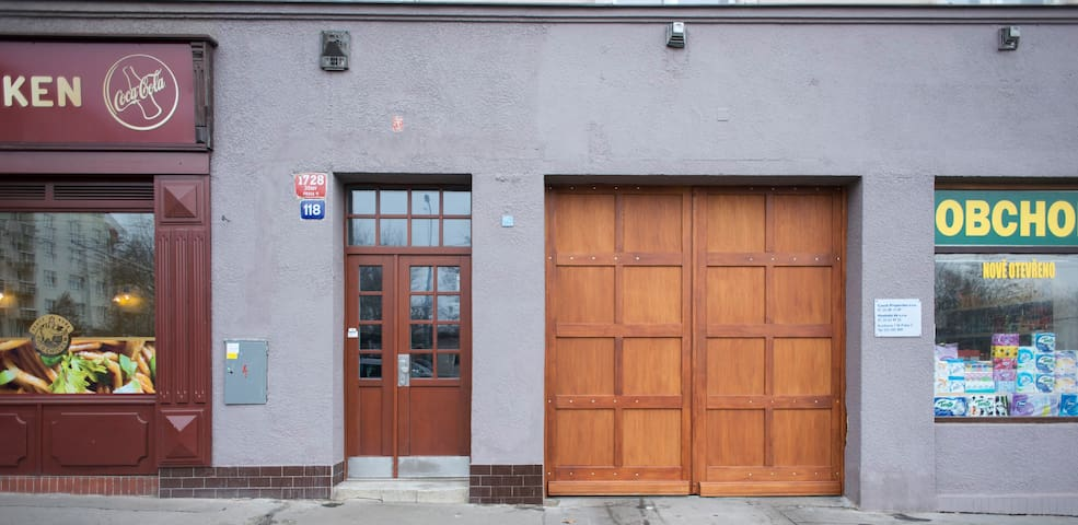 The entrance and enter of garage