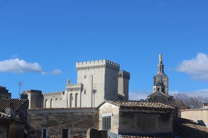 T2 Avignon centre wifi 4 pers vue palais des papes