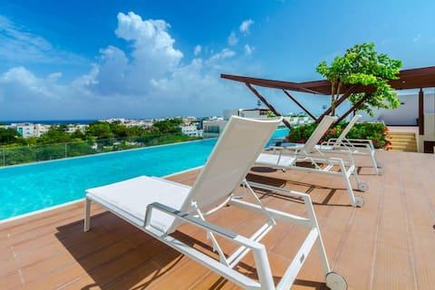 Brand New 1BR, AC, Beach, Rooftop Pool