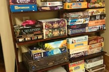 We are board game enthusiasts. You are welcome to play anything that intrigues you.