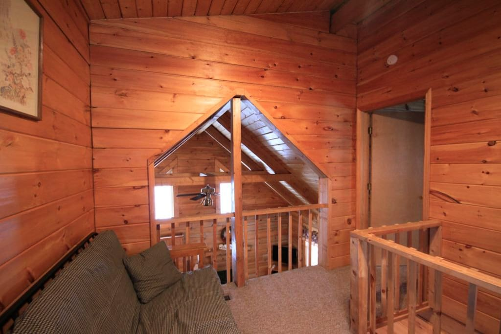 Loft area of the West Virginian cabin at Country Road Cabins in Hico, WV