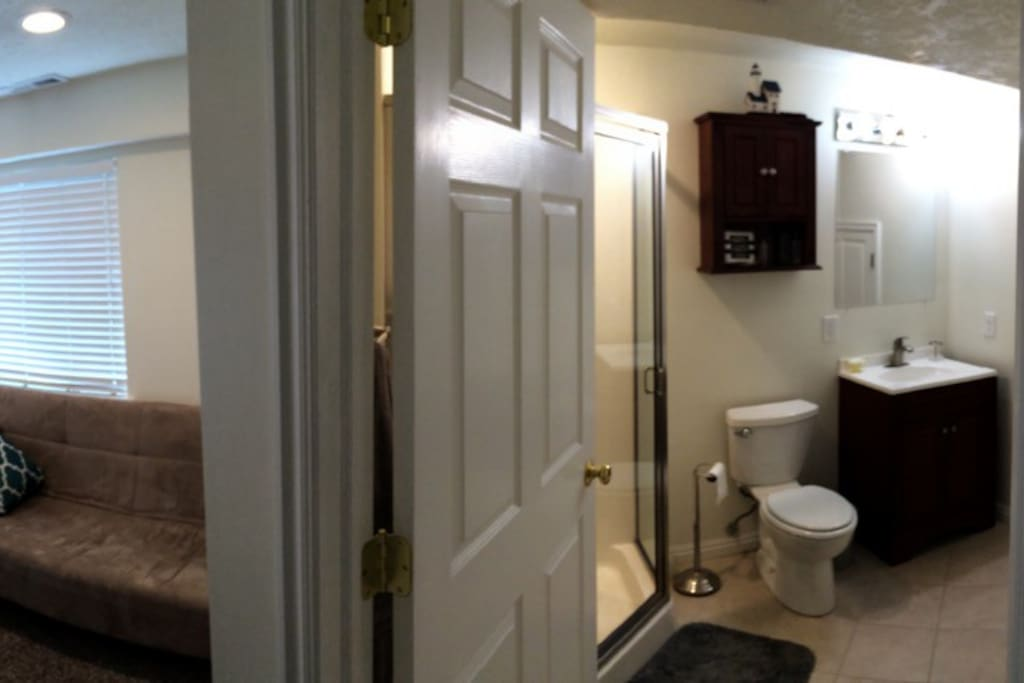 Personal bathroom with shower attached to room for your privacy.
