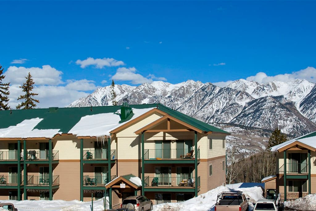 Purgatory Towhomes in winter snow Durango Colorado vacation rental condo at Purgatory Resort