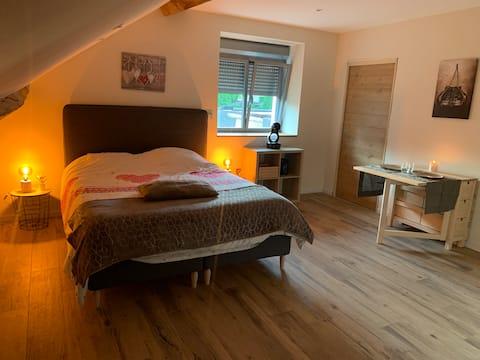 Chambre confortable et spacieuse, avec salle d'eau