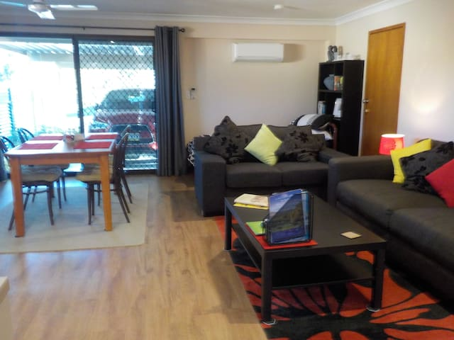 The single story unit is totally self-contained and accessed directly from the Guests undercover car parking area. There are also two other egress points. Access to the pool,  lovely rear gardens and BBQ area.